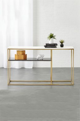 2 tone marble top console table
