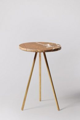 pearl brown round marble end table - brass plate