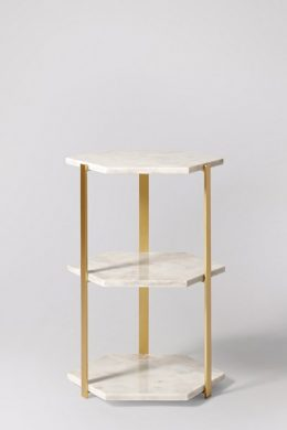tempa white marble side table
