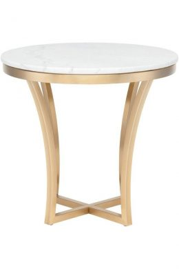 aurora white marble top side table gold base