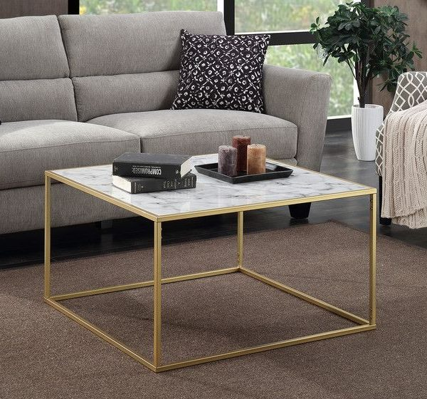 belle square marble coffee table gold base