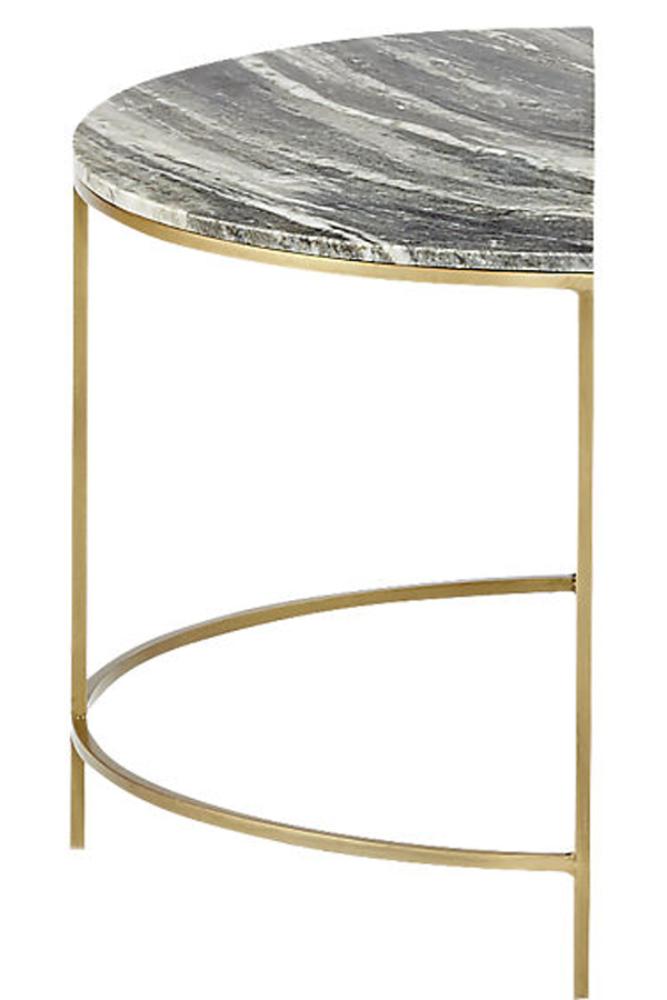 black half moon marble side table