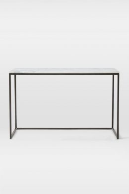 box frame marble top console table