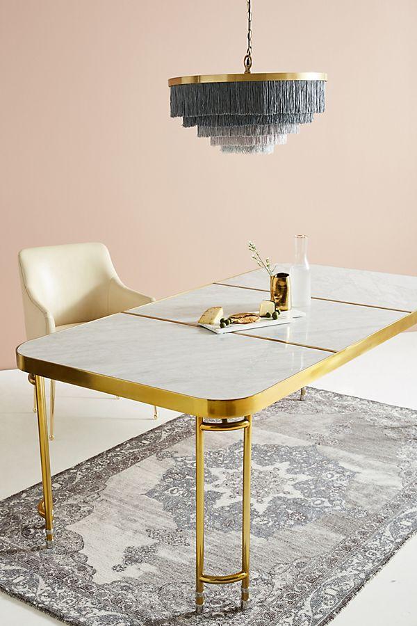 Wondrous Brass Parabola Modern Marble Dining Table Lexiang Interior Design Ideas Tzicisoteloinfo