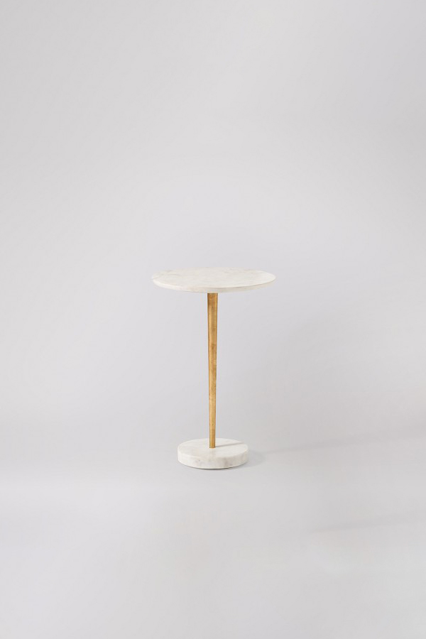 carrara white marble side table gold leaf