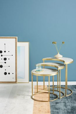 celestial nesting white marble side table