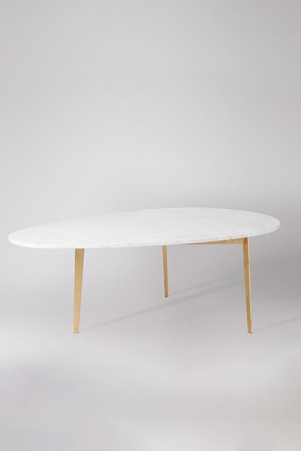 gianni marble coffee table - gold leaf