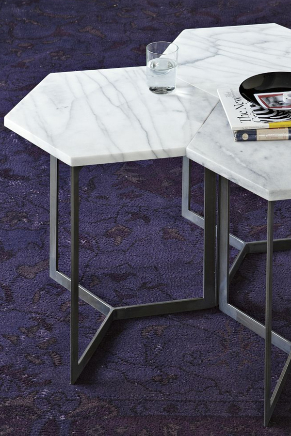 hex marble hexagonal side table