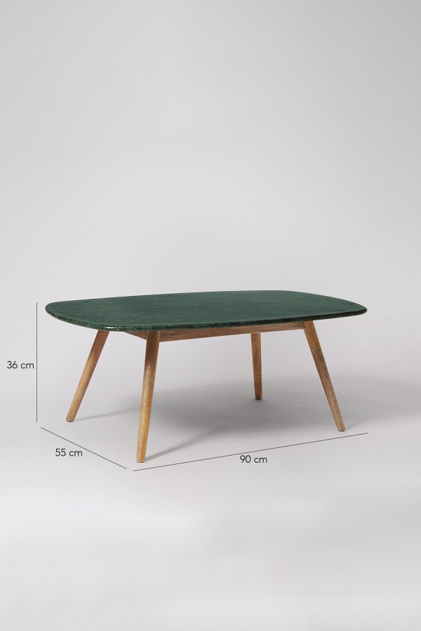 kasper green marble coffee table - mango wood