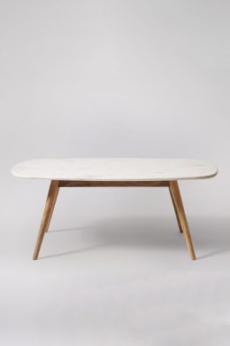 kasper white marble coffee table - mango wood