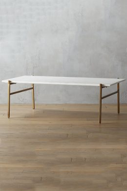 large marble coffee table - brass base