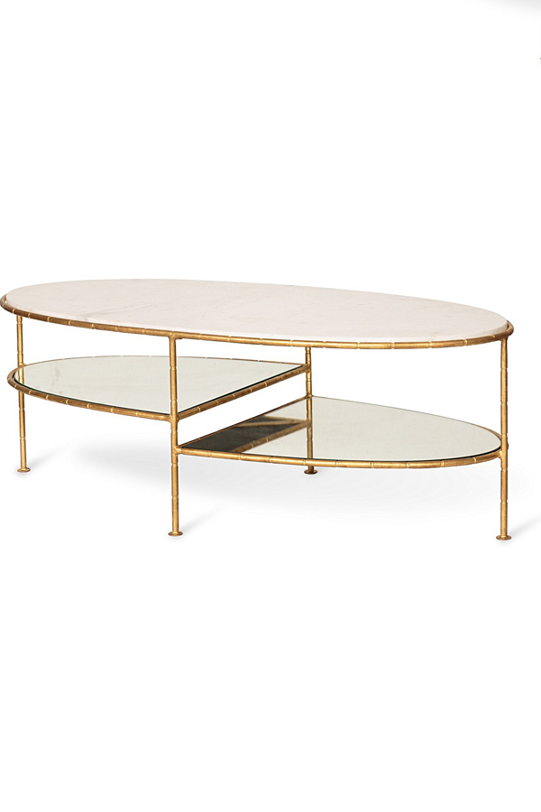 luxe three oval bamboo marble coffee table