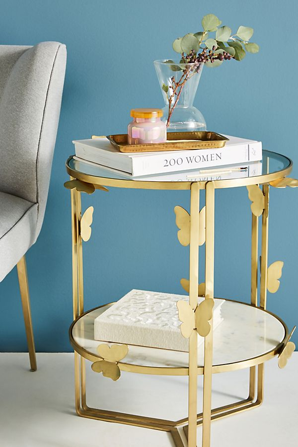 mariposa marble top side table