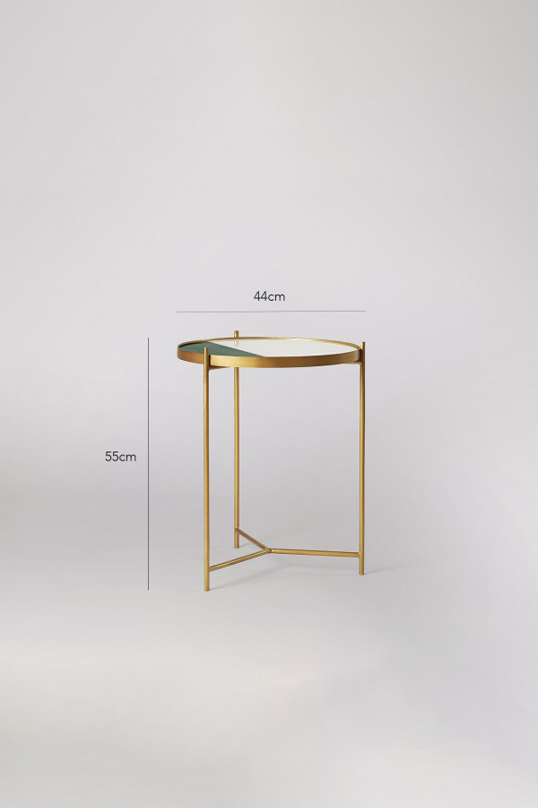 modern marble side table green/brass/white