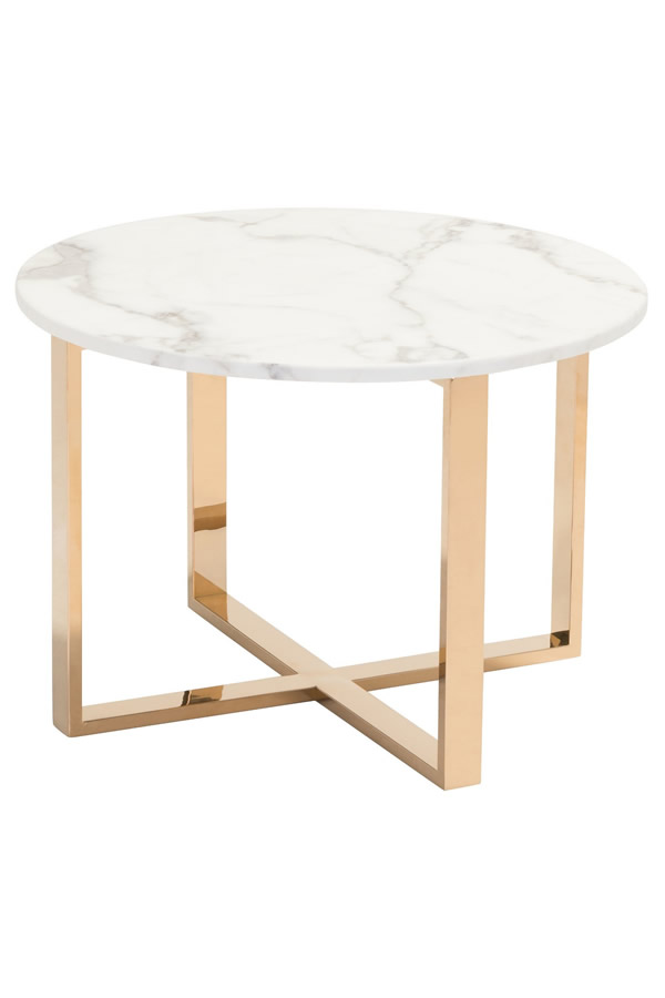 modern round marble stainless steel side table