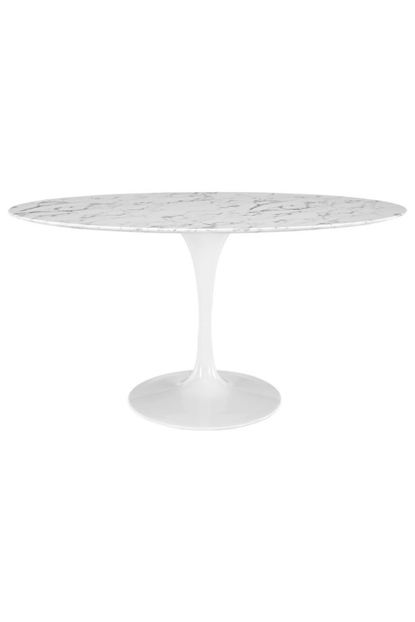 modway oval white marble dining table
