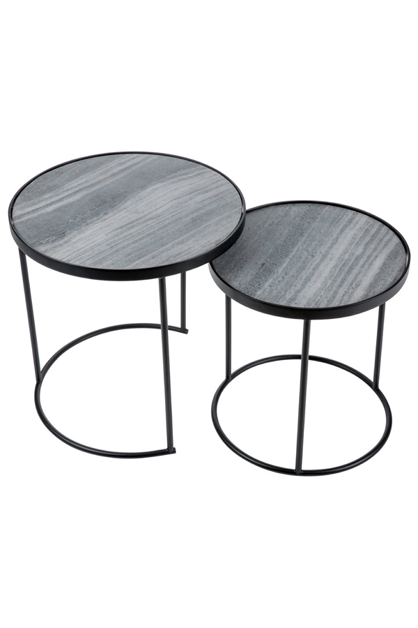 Round Marble Top Bedside Table Set Of 2 Lexiang