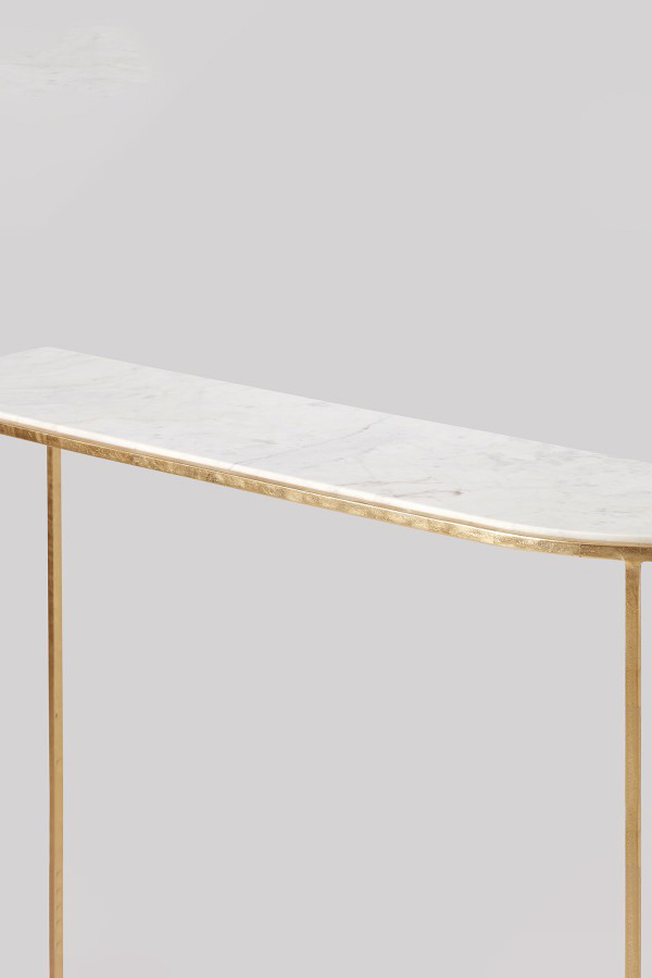 sienna white&gold leaf marble console table