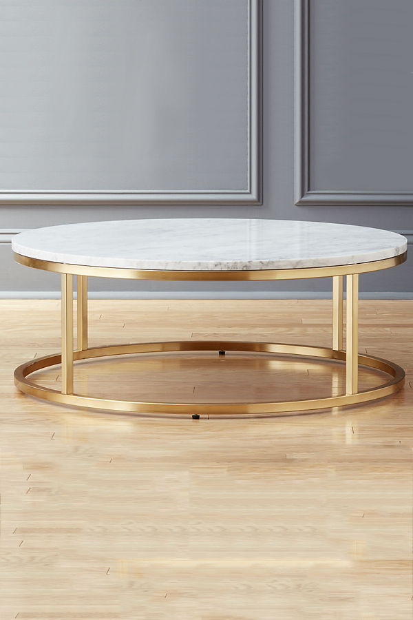 Small Round Marble Coffee Table Brass Lexiang - All marble coffee table