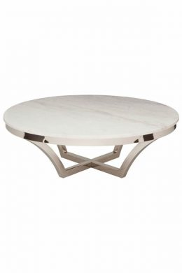 smooth round white marble top coffee table