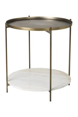 tristan round marble and brass side table