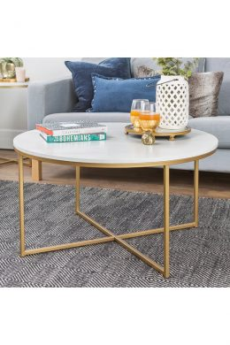 x - base white round marble coffee table