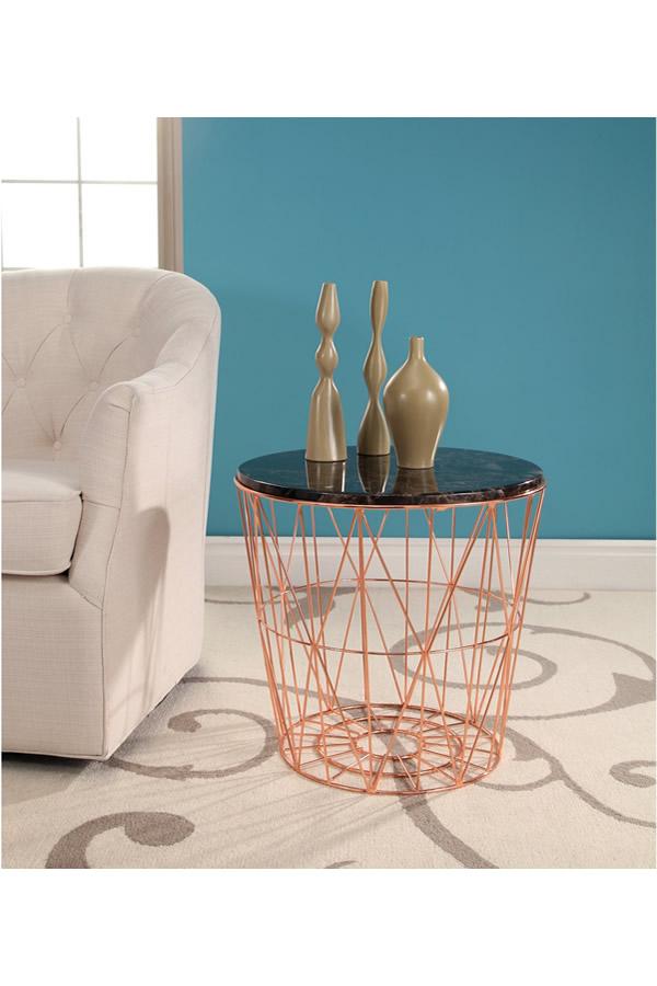 xiomara round black marble side table