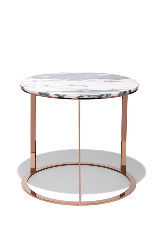 white marble side table rose gold