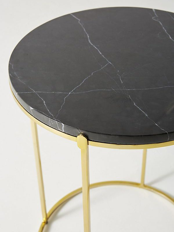 Black Marquina Marble Side Table