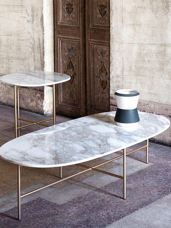 BlackAndWhite Iron Base Marble Coffee Table