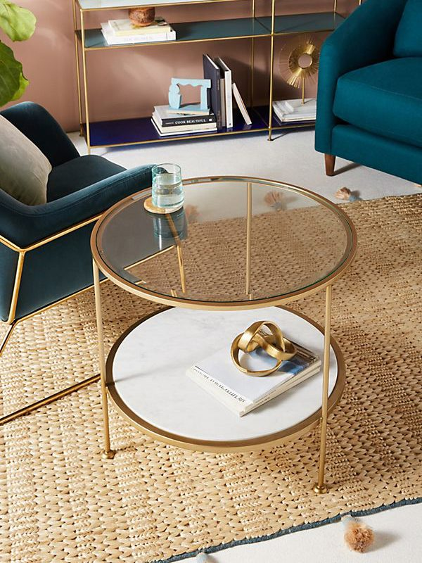 Elegant Round Coffee Table With Glass Surface