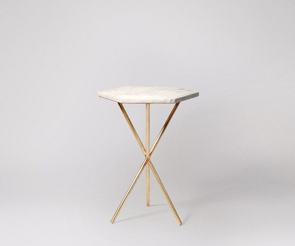Green Marble Tabletop Side Table Hexagon