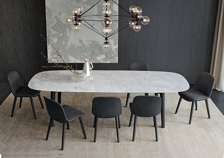 Long White Marble Dining Table