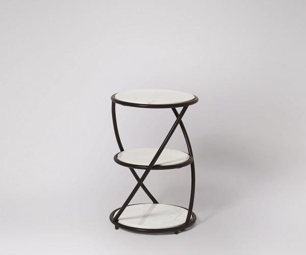Marble Side Table Black Steel Legs MST046