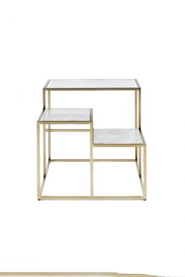 Square Marble Three-tier Side Table