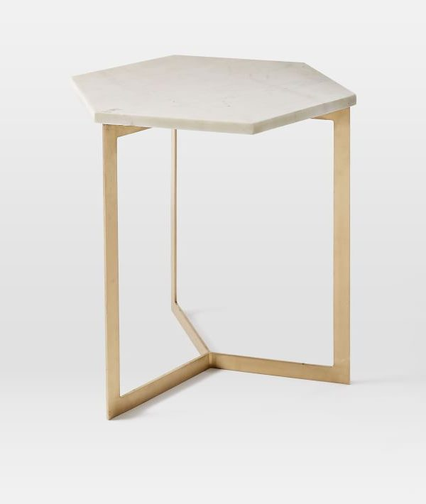 White Hexagon Marble Side Table