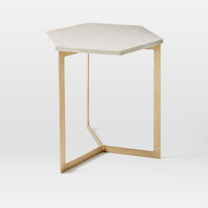 White Hexagon Marble Side Table - Hexagon marble coffee table