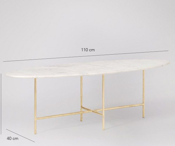 White Marble Coffee Table With Steel Base