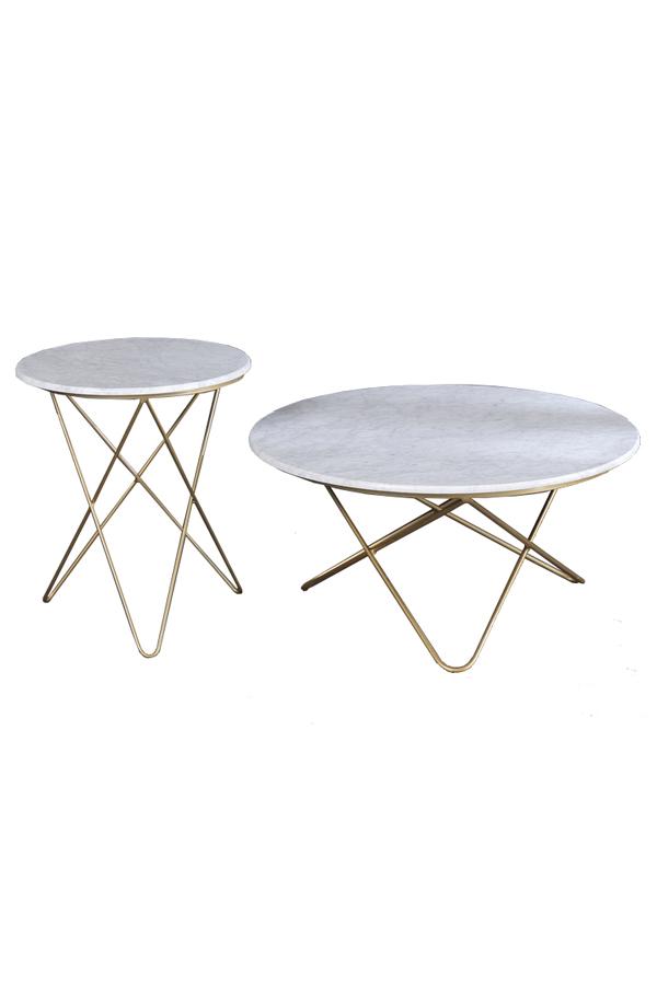 White Marble Coffee Tabletop Metal Frame