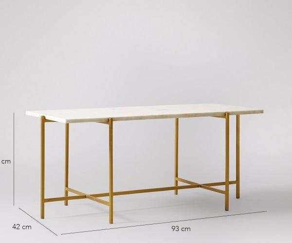 White Rectangular Coffee Table With Iron Base