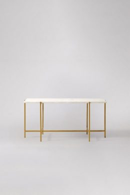 White Rectangular Coffee Table With Iron Base