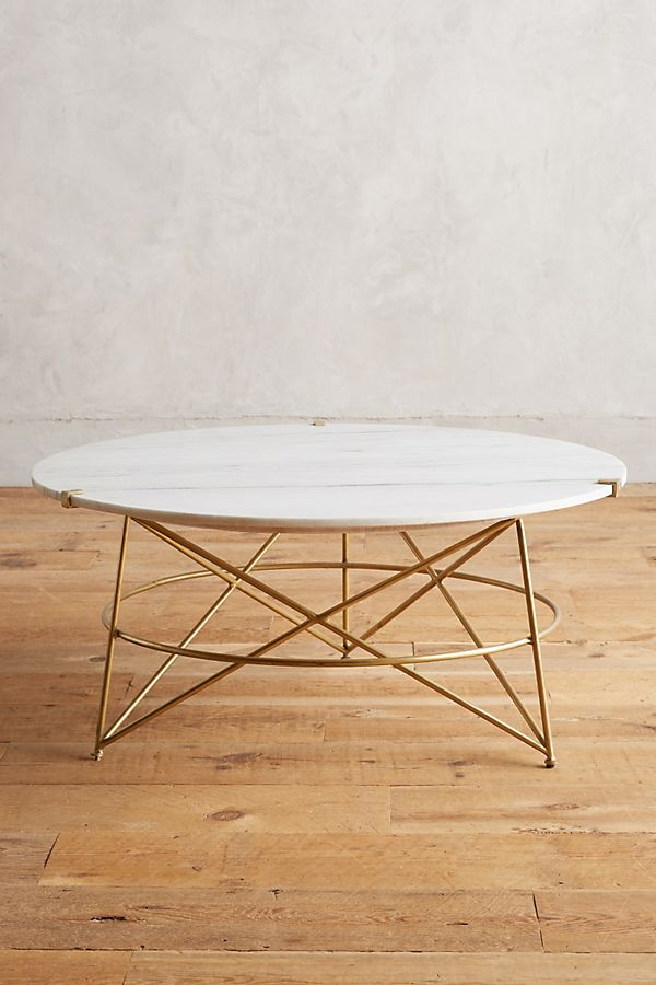 White Round Brass Base Marble Coffee Table