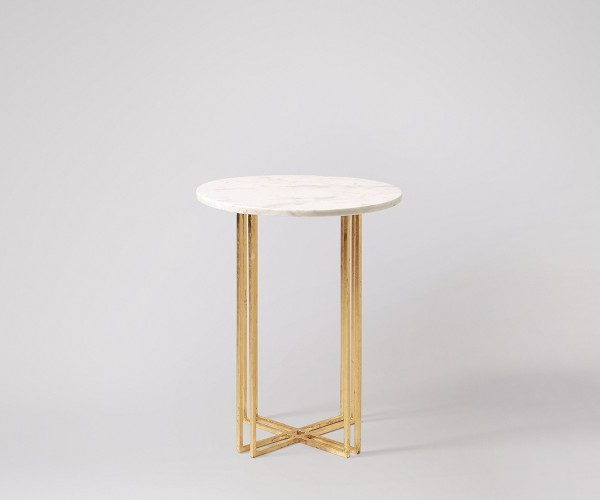 White Round Marble Tabletop Side Table