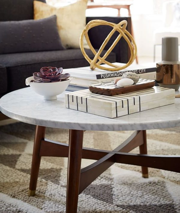 Wood Frame Marble Coffee Table