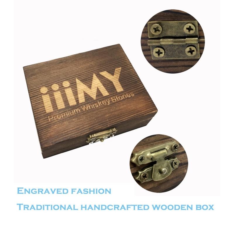 Cylinder Dark Grey Granite Whiskey Ice Cube Stones Box-6