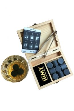 Cylinder Dark Grey Granite Whiskey Ice Cube Stones Box-8