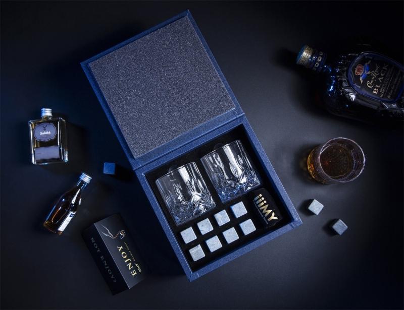 Exquisite Granite Whiskey Ice Cubes Whiskey Stones Box-1