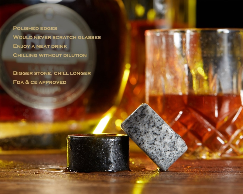 Mixed Color Cylinder Granite Whiskey Stones Whiskey Rocks-5